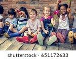 group of kindergarten kids... | Shutterstock . vector #651172633