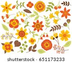 vector autumn floral set. set... | Shutterstock .eps vector #651173233