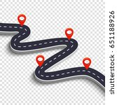 winding road isolated on a...   Shutterstock .eps vector #651188926