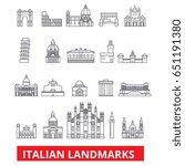 italian landmakrs  italian ... | Shutterstock .eps vector #651191380