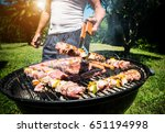 meat on a grill | Shutterstock . vector #651194998