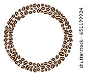 round frame with brown coffee... | Shutterstock .eps vector #651199924