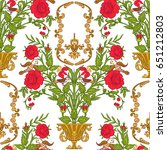 seamless pattern with vintage... | Shutterstock .eps vector #651212803