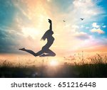 Stock photo vitality concept silhouette of a girl jumping at sunset meadow with her hands raised on colorful 651216448