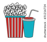 pop corn with soda cinema food | Shutterstock .eps vector #651216724