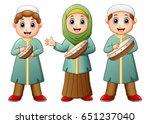 happy muslim kid cartoon... | Shutterstock . vector #651237040