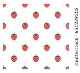 strawberry vector pattern... | Shutterstock .eps vector #651239203