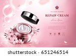 cherry blossom repair cream... | Shutterstock .eps vector #651246514