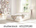 white bedroom with green... | Shutterstock . vector #651259180
