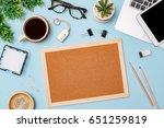 top view workspace mockup on... | Shutterstock . vector #651259819