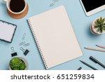 top view workspace mockup on...   Shutterstock . vector #651259834