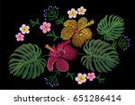 tropical embroidery flower... | Shutterstock .eps vector #651286414