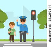 policeman shows and explains... | Shutterstock .eps vector #651293644