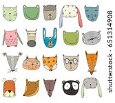 set of cute characters. funny... | Shutterstock .eps vector #651314908