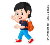 vector illustration of cute boy ... | Shutterstock .eps vector #651315688