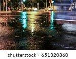 rainstorm night in the big city ... | Shutterstock . vector #651320860