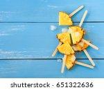 slice pineapple popsicle sticks ... | Shutterstock . vector #651322636
