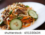 eat tasty chinese salad with... | Shutterstock . vector #651330634