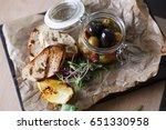 tasty greek olives grilled... | Shutterstock . vector #651330958