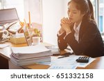 a business woman is holding his ...   Shutterstock . vector #651332158