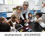 diverse kindergarten students... | Shutterstock . vector #651344920