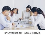 tensed asian business people... | Shutterstock . vector #651345826