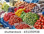 Market With Various Colorful...