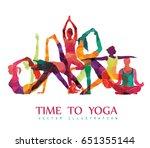yoga fitness concept. vector... | Shutterstock .eps vector #651355144