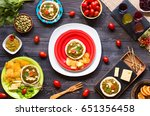 tasty and delicious bruschetta... | Shutterstock . vector #651356458