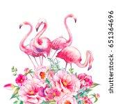 watercolor flamingo with... | Shutterstock . vector #651364696