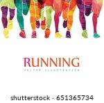 running marathon  people run ... | Shutterstock .eps vector #651365734