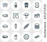 vector illustration of 16 food... | Shutterstock .eps vector #651371923