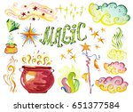 watercolor artistic collection... | Shutterstock . vector #651377584