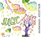 watercolor artistic hand drawn... | Shutterstock . vector #651377638