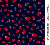 seamless pattern with hearts.... | Shutterstock .eps vector #651379963