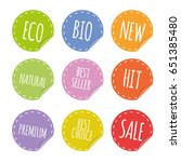 colored badges stickers set... | Shutterstock .eps vector #651385480
