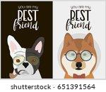 hipster dog card for birthday... | Shutterstock .eps vector #651391564