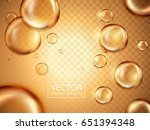 glossy water bubbles and golden ... | Shutterstock .eps vector #651394348