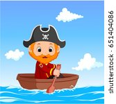 cartoon little pirate was... | Shutterstock . vector #651404086