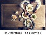 couple having dinner date at... | Shutterstock . vector #651409456