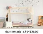 scandi design of baby room with ... | Shutterstock . vector #651412810
