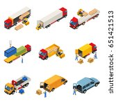 truck isometric set with images ... | Shutterstock .eps vector #651421513