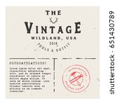 retro invitation  greeting card ... | Shutterstock .eps vector #651430789