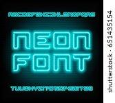 neon tube alphabet font. type... | Shutterstock .eps vector #651435154