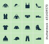clothes icons set. collection... | Shutterstock .eps vector #651439570