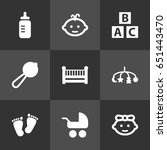 set of 9 kid icons set... | Shutterstock .eps vector #651443470