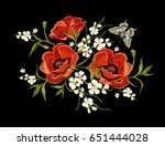 embroidery colorful floral... | Shutterstock .eps vector #651444028
