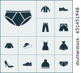 clothes icons set. collection... | Shutterstock .eps vector #651451948