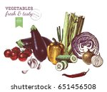hand drawn colorful vegetables... | Shutterstock .eps vector #651456508