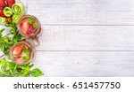 cucumber and strawberry detox... | Shutterstock . vector #651457750